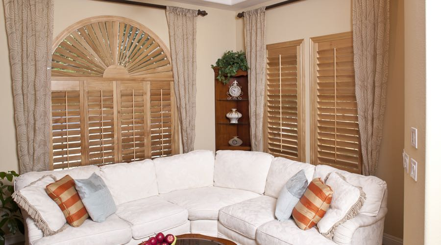 Sunburst Arch Ovation Wood Shutters In Phoenix Living Room