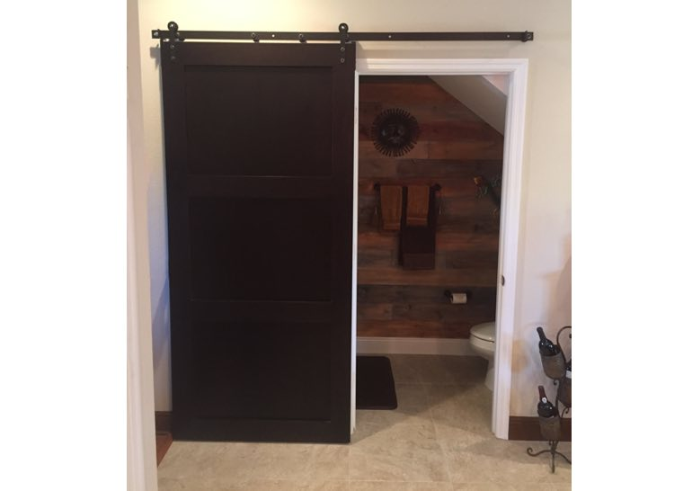 Wooden bathroom sliding barn door 🚪