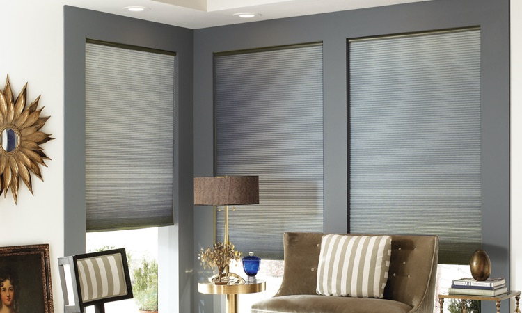 Cellular shades in a sitting area