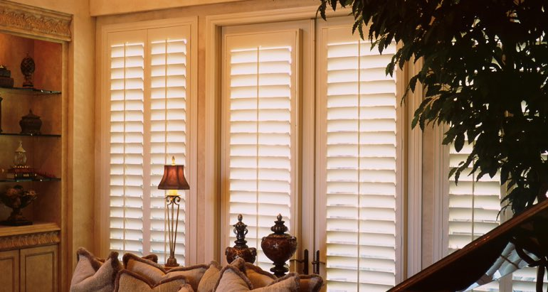 Plantation shutters on french door and window in Phoenix living room