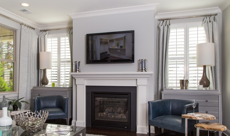 Phoenix fireplace with plantation shutters.