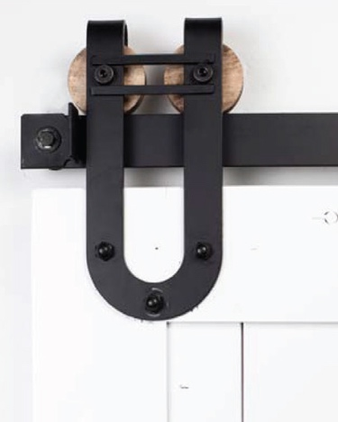 Black flat track for sliding barn doors