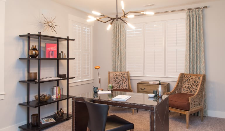 Phoenix home office with plantation shutters.
