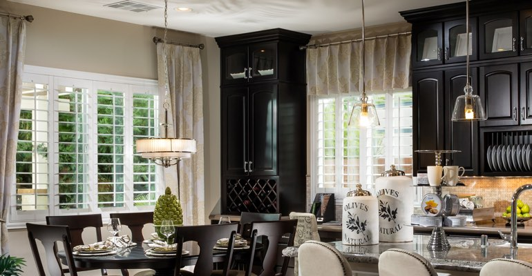 Phoenix kitchen dining room with plantation shutters.