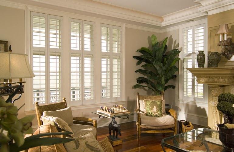 Living Room in Phoenix with interior plantation shutters.