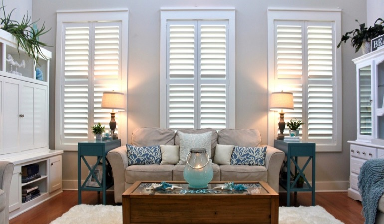 Phoenix designer living room with chic shutters
