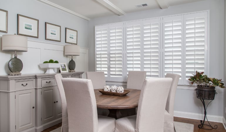 Plantation shutters in a Phoenix dining room.
