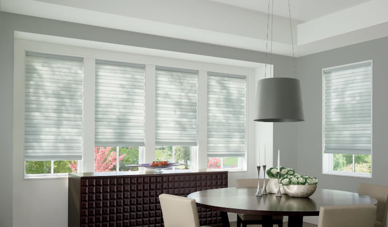 Cellular shades in a Phoenix dining room.