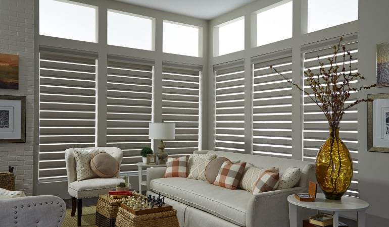 Motorized shades in a Phoenix living room.