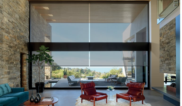 Motorized shades in a Phoenix family room.