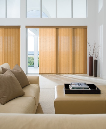 Panel track blinds in modern living room