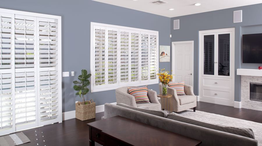 Faux Wood Shutters In modern Phoenix Living Room