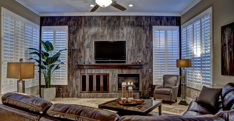 Phoenix living room with shutters
