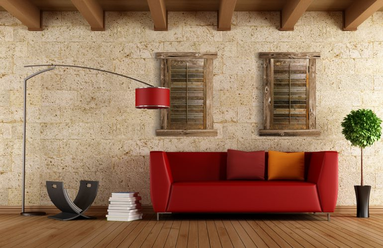 Reclaimed Wood Shutters In A Phoenix Living Room