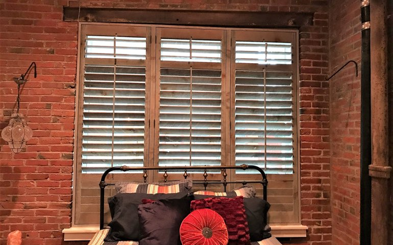 reclaimed wood shutters in Phoenix apartment