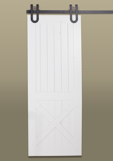 Rustic half x barn door in white with dark hardware