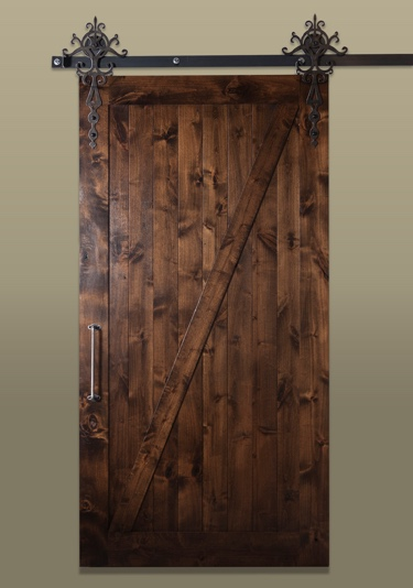 Rustic sliding barn door with metal hardware