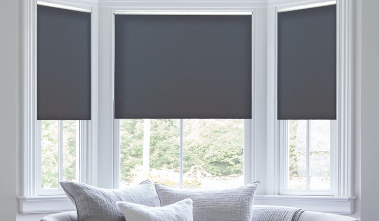 Roller shades in a dining room