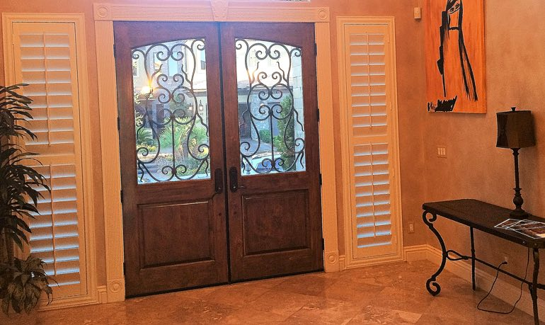 Foyer Window Shutters : Entryway sidelight shutters sunburst phoenix