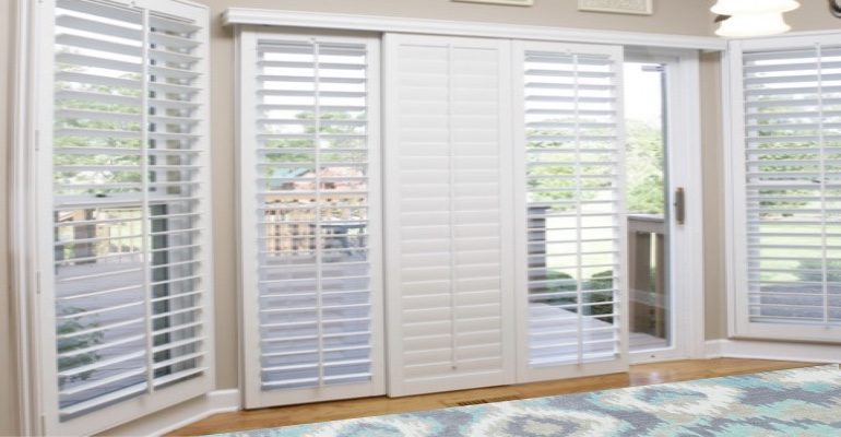 [Polywood|Plantation|Interior ]211] shutters on a sliding glass door in Phoenix