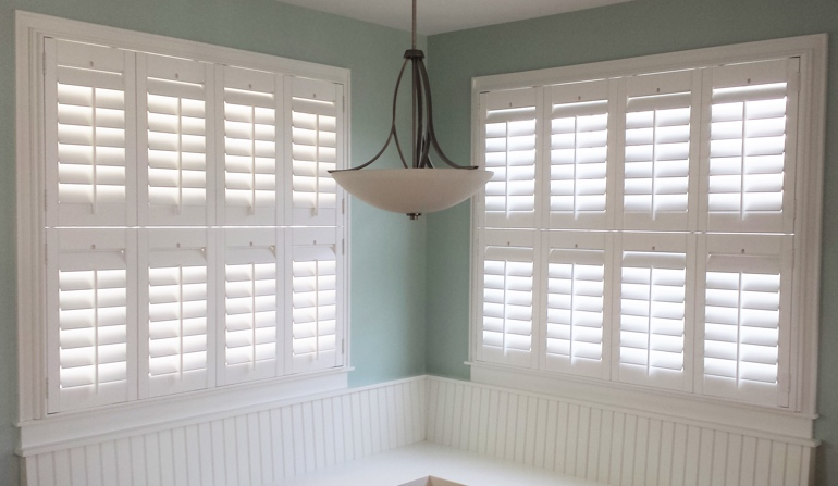 Phoenix white shutters in dining room