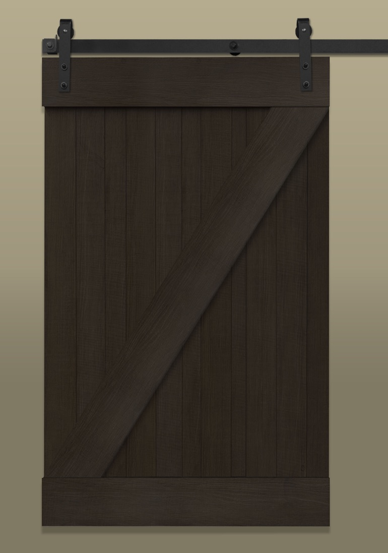 Dark brown sliding barn door with Z rail