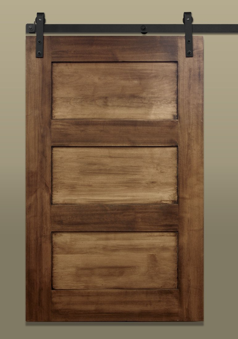 Shaker 3-panel sliding barn door stained light brown