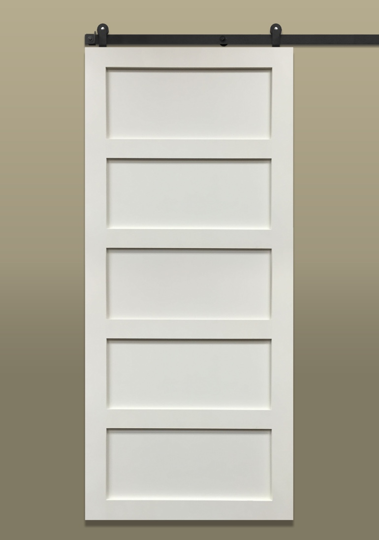 5-panel sliding barn door painted white with dark hardware