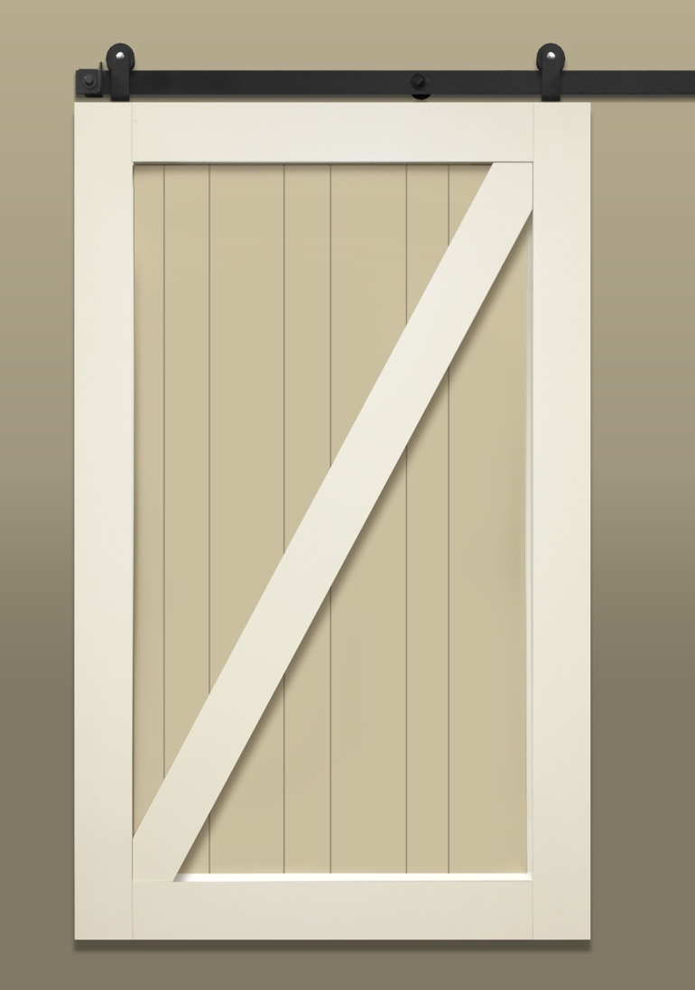Light colored stile & rail sliding barn door