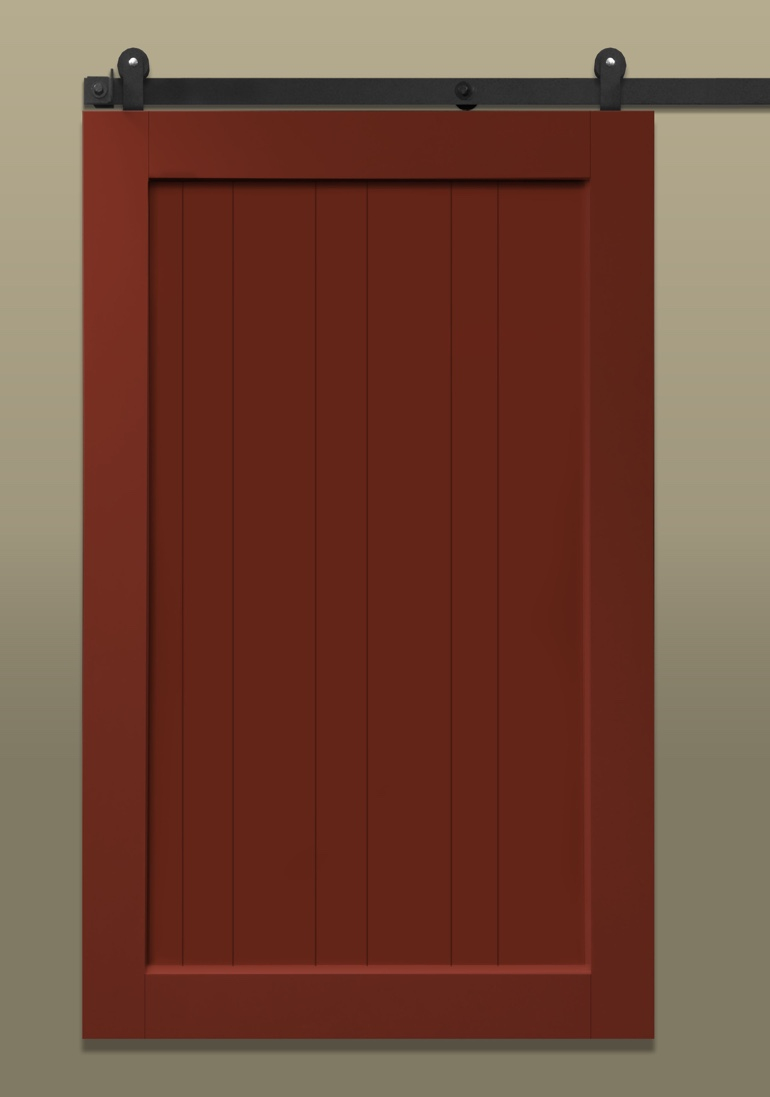 Red stile & rail sliding barn door