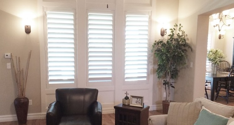 Phoenix living room white shutters
