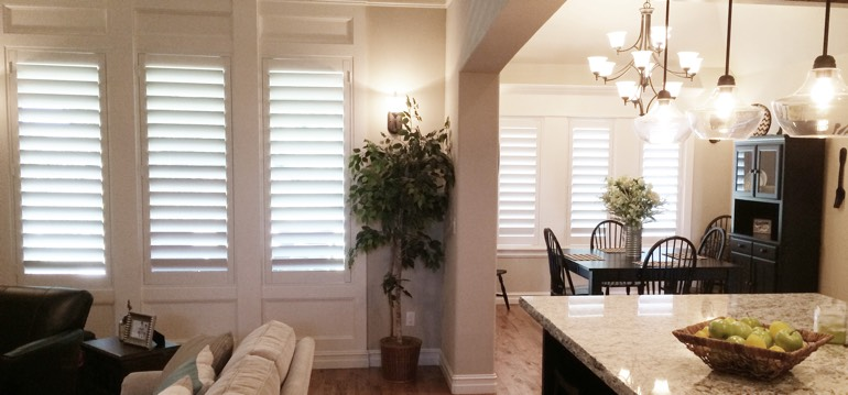 Phoenix shutters in kitchen and family room