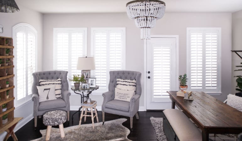 Plantation shutters in a Phoenix living room
