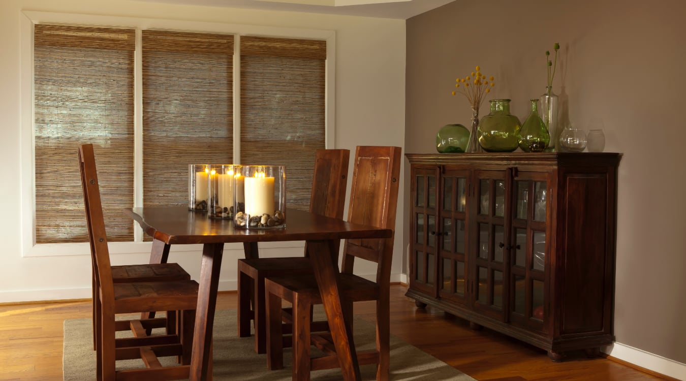 Woven shutters in a Phoenix dining room.