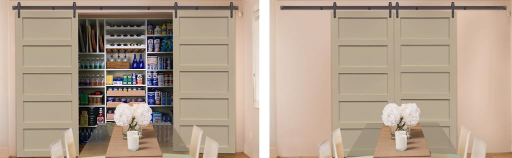 Sliding barn doors used as pantry doors