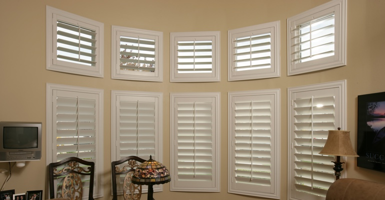 Bay window shutters Phoenix home office