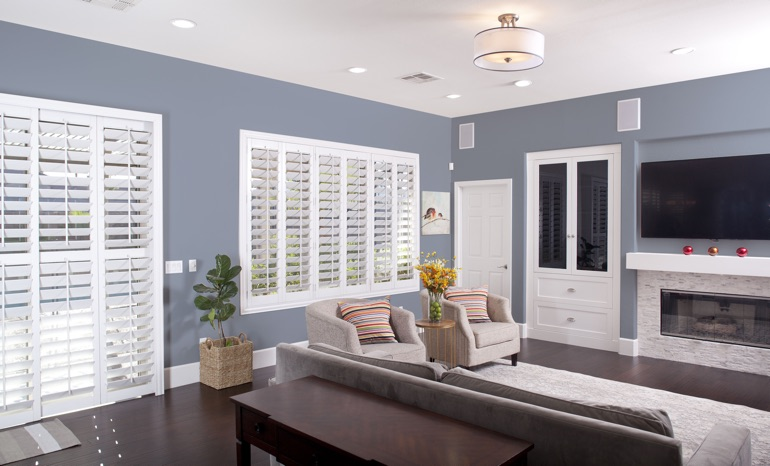 Polywood Shutters In A Phoenix Living Room.