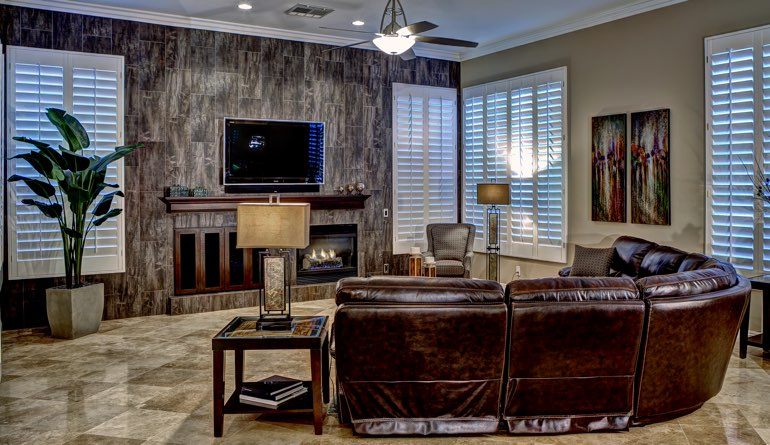 Plantation Shutters In A Phoenix Living Room.