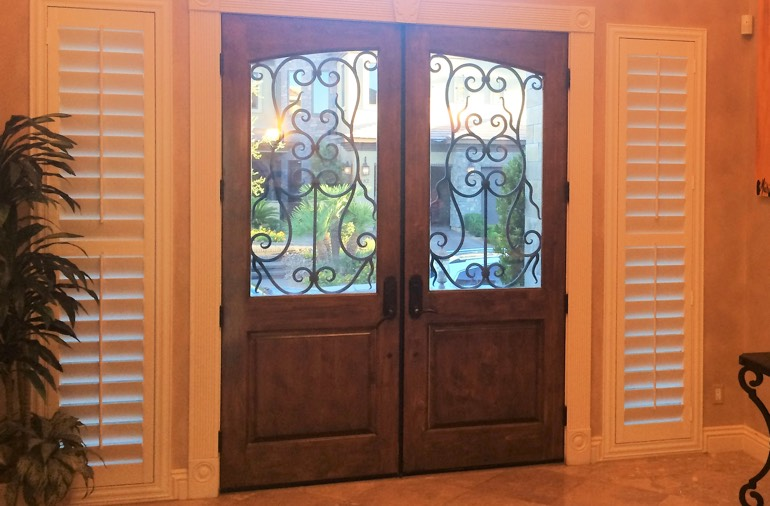 Sidelight window shutters in Phoenix entryway