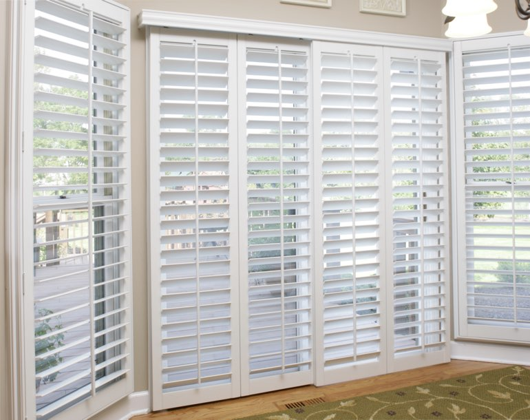 Sliding glass door with plantation shutters Phoenix
