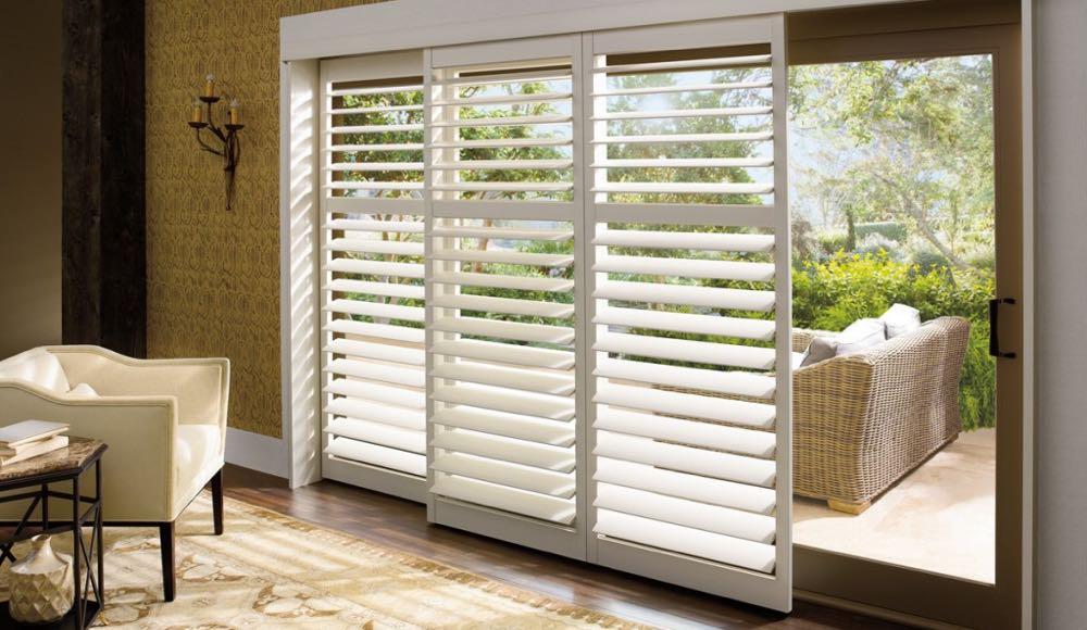Sliding glass door shutters in phoenix sunburst shutters for Alternative to plantation shutters